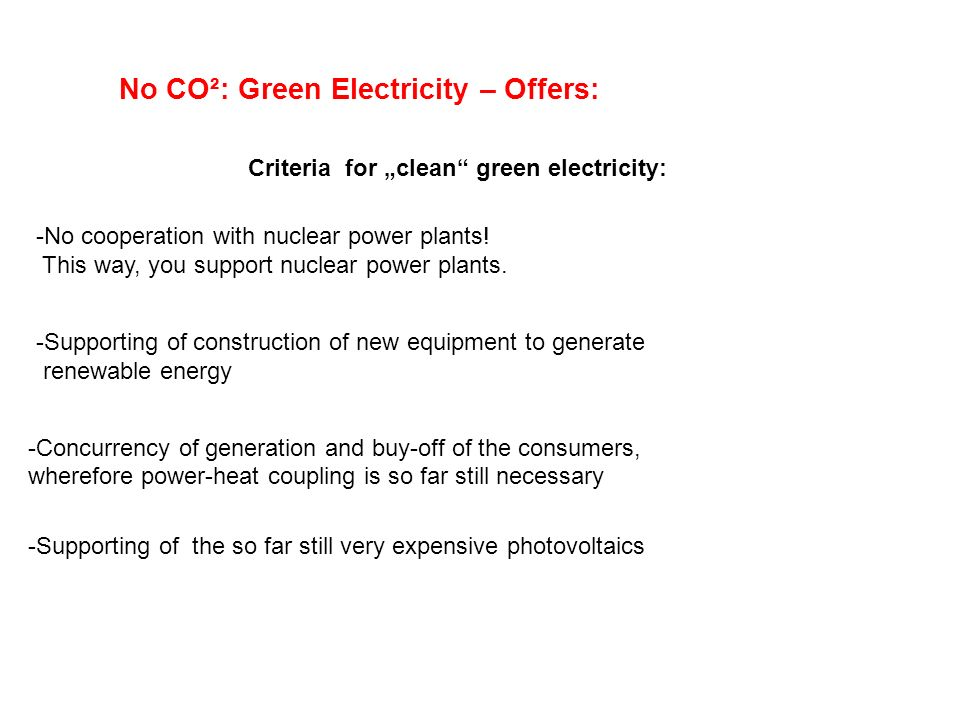 No CO²: Green Electricity – Offers: