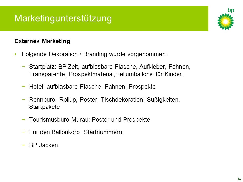 Marketingunterstützung