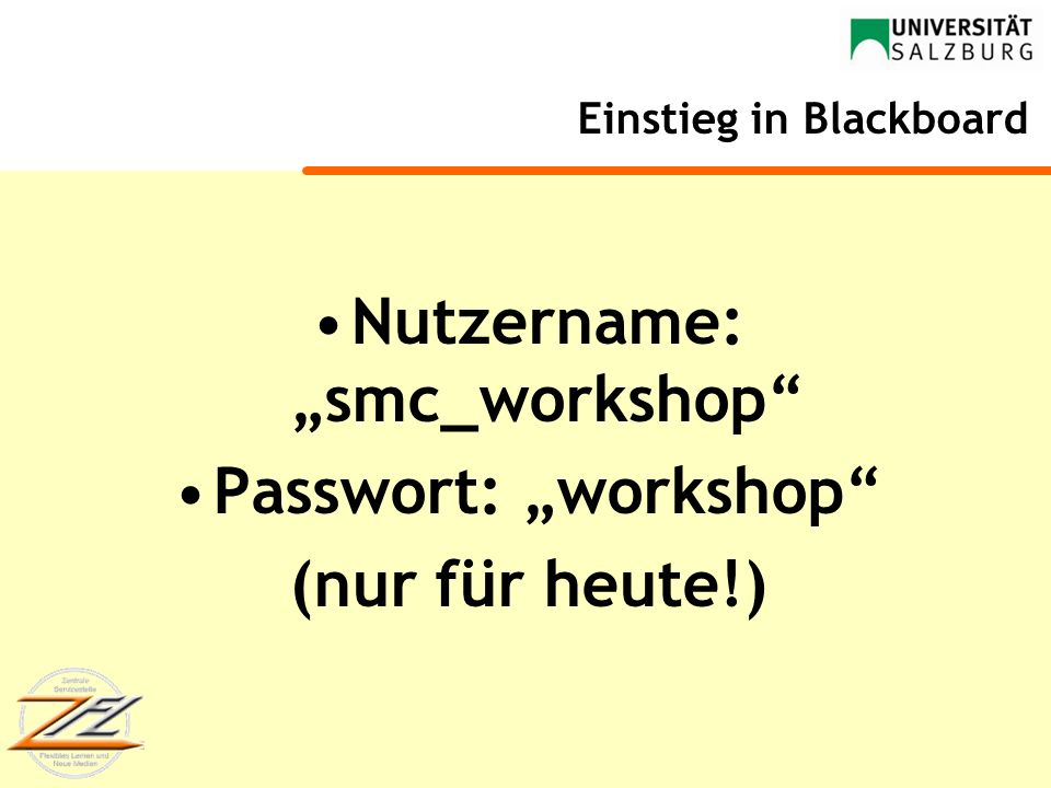 Einstieg in Blackboard