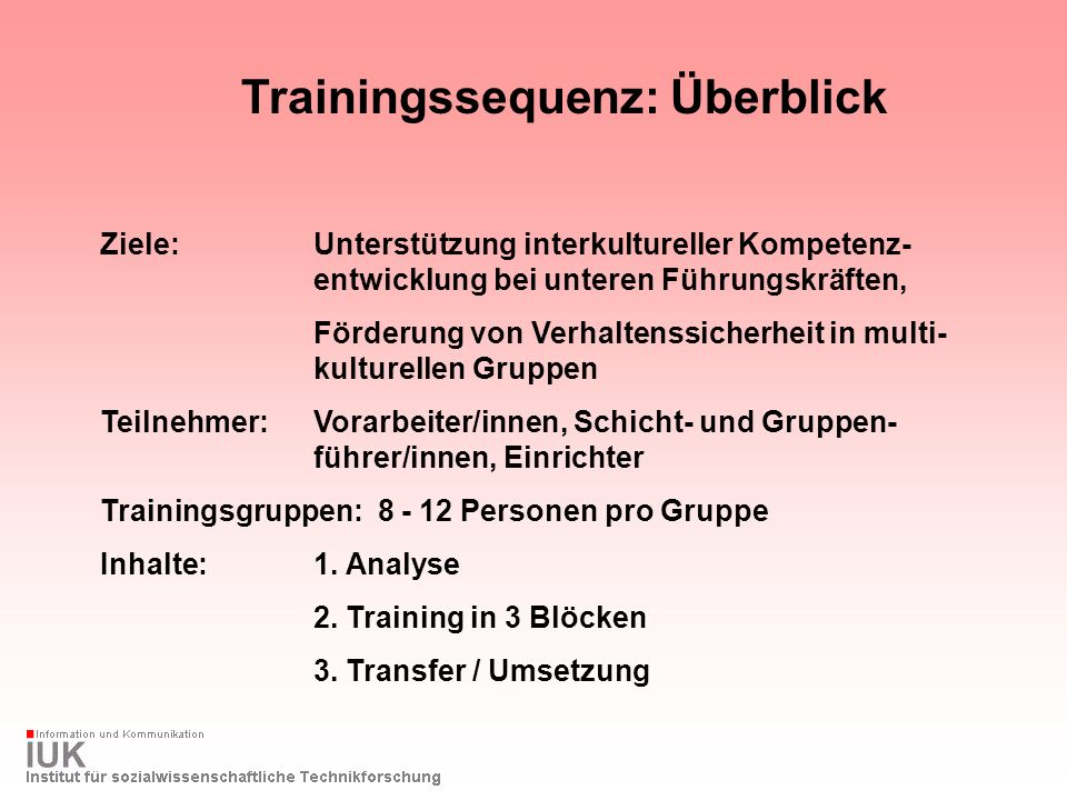 Trainingssequenz: Überblick