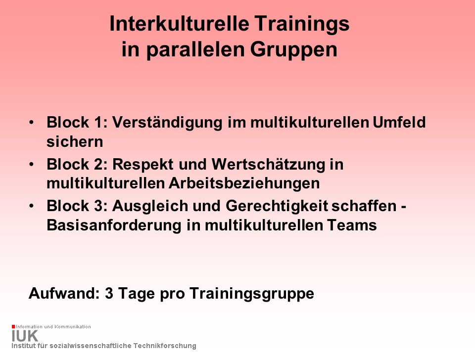 Interkulturelle Trainings in parallelen Gruppen