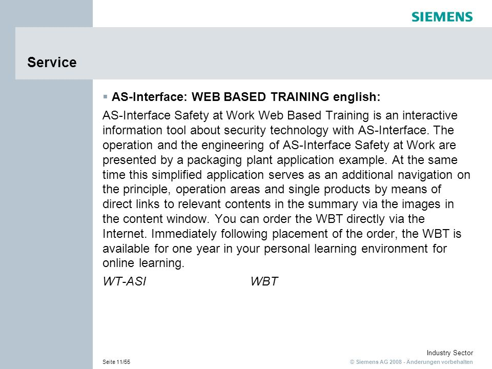 Service AS-Interface: WEB BASED TRAINING english: