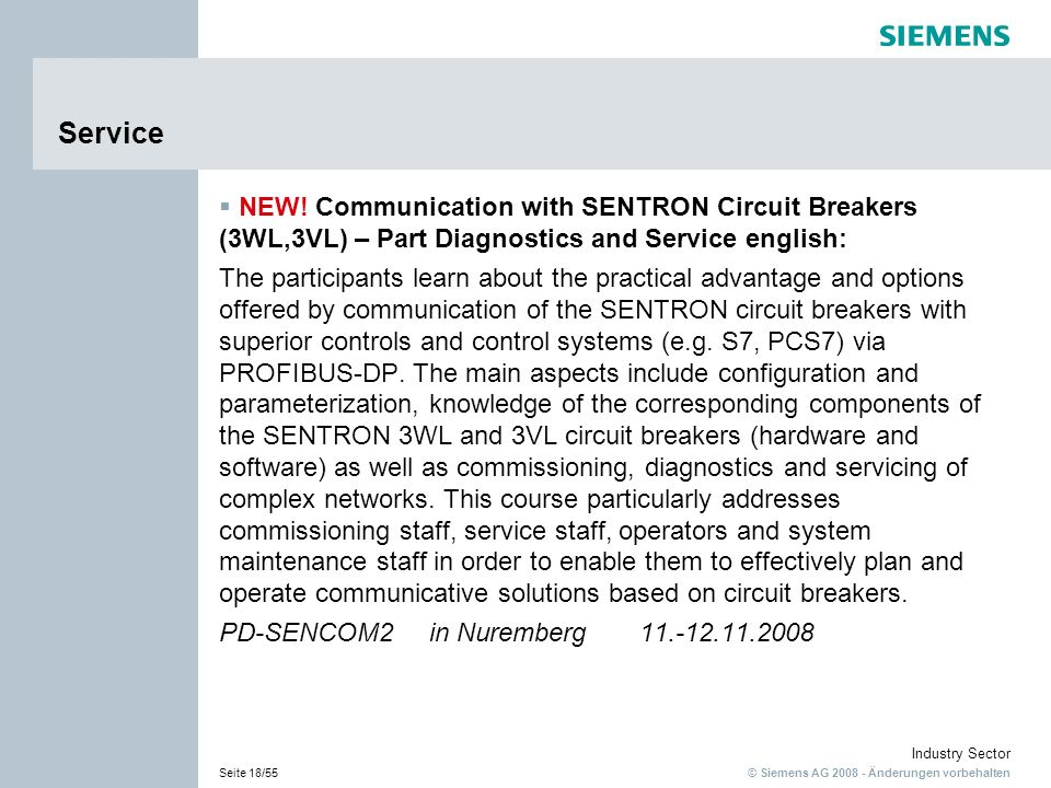 Service NEW! Communication with SENTRON Circuit Breakers (3WL,3VL) – Part Diagnostics and Service english: