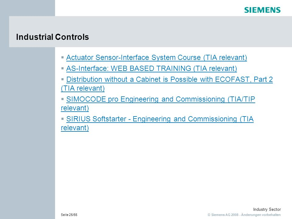 Industrial Controls Actuator Sensor-Interface System Course (TIA relevant) AS-Interface: WEB BASED TRAINING (TIA relevant)