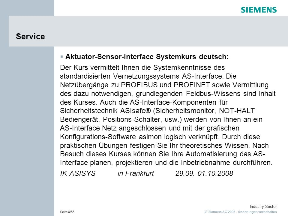 Service Aktuator-Sensor-Interface Systemkurs deutsch:
