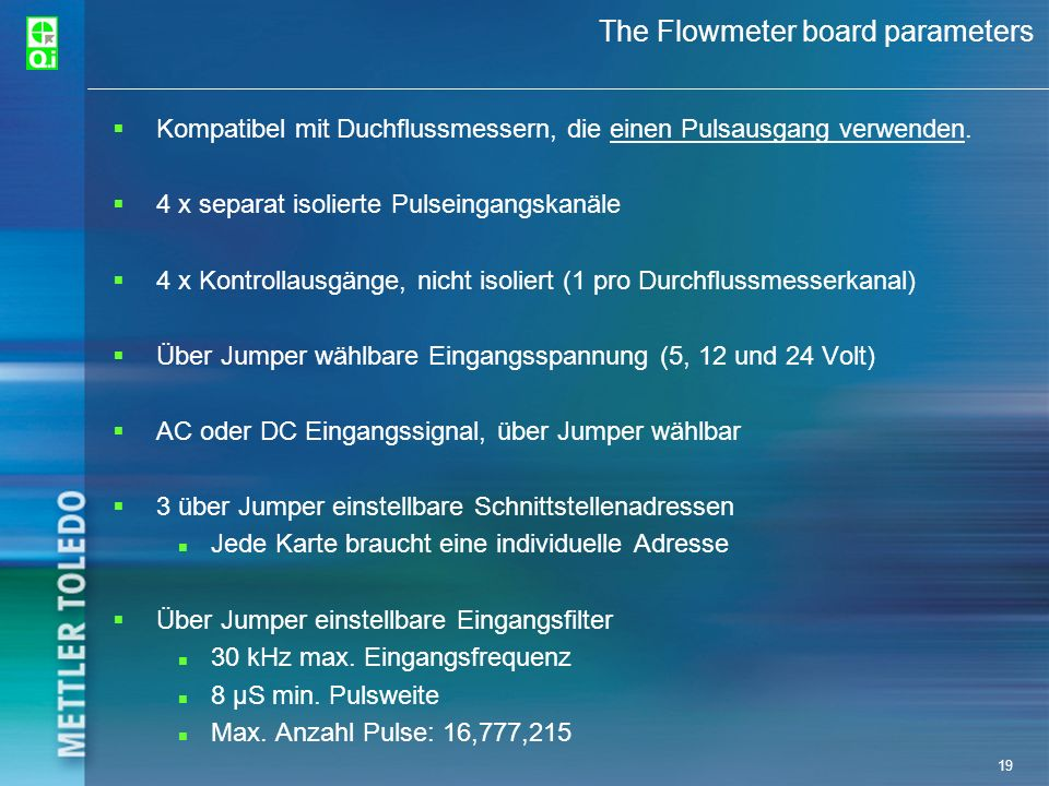 The Flowmeter board parameters