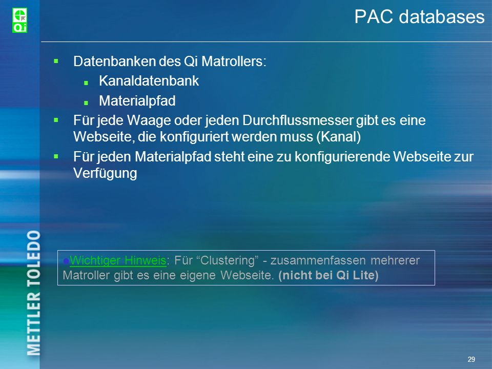 PAC databases Datenbanken des Qi Matrollers: Kanaldatenbank