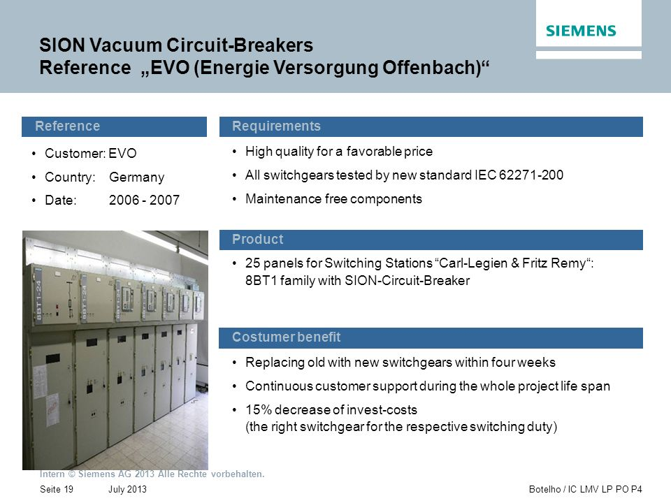 "SION Vacuum Circuit-Breakers Reference ""EVO (Energie Versorgung Offenbach)"