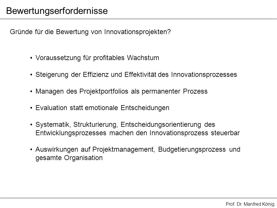 Bewertungserfordernisse