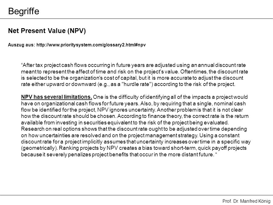 Begriffe Net Present Value (NPV)