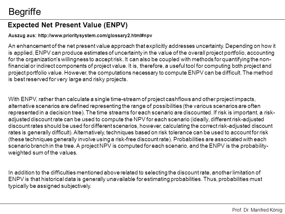 Begriffe Expected Net Present Value (ENPV)