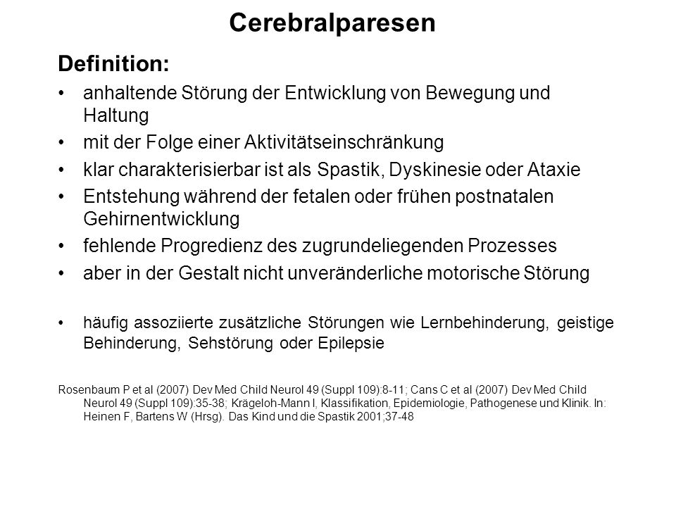 Cerebralparesen Definition:
