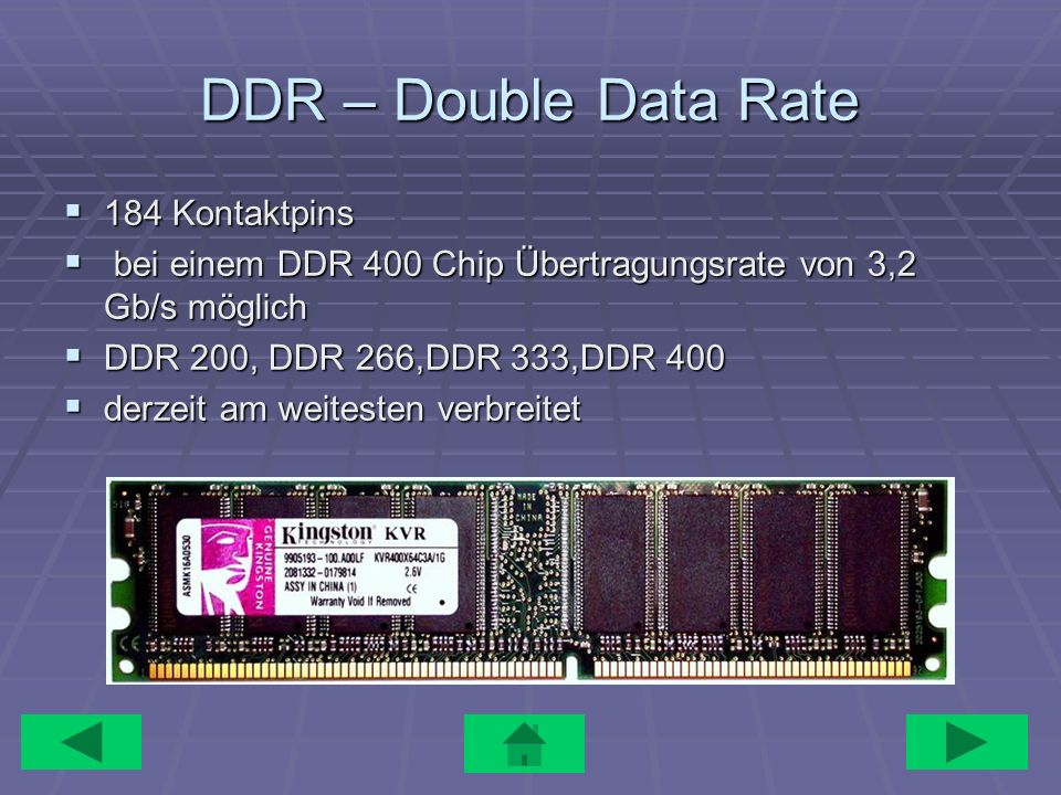 DDR – Double Data Rate 184 Kontaktpins