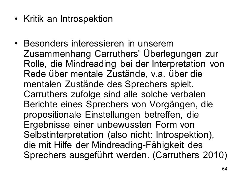 Kritik an Introspektion