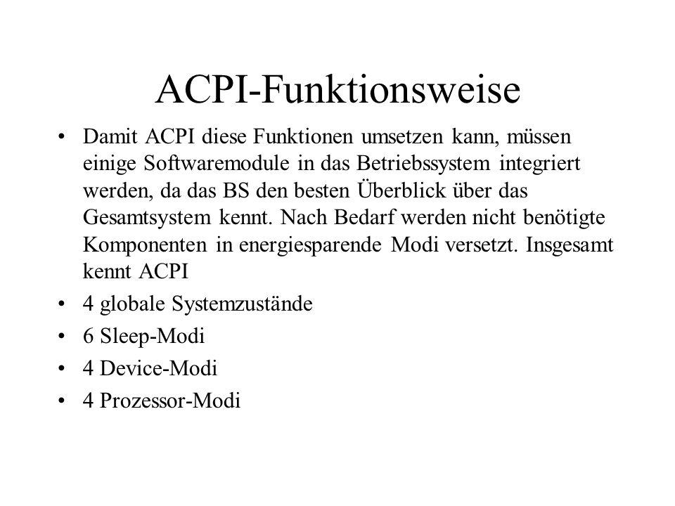 ACPI-Funktionsweise