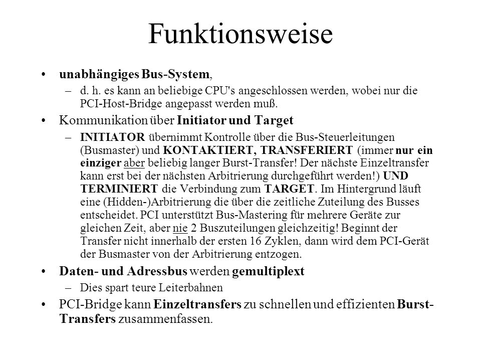 Funktionsweise unabhängiges Bus-System,