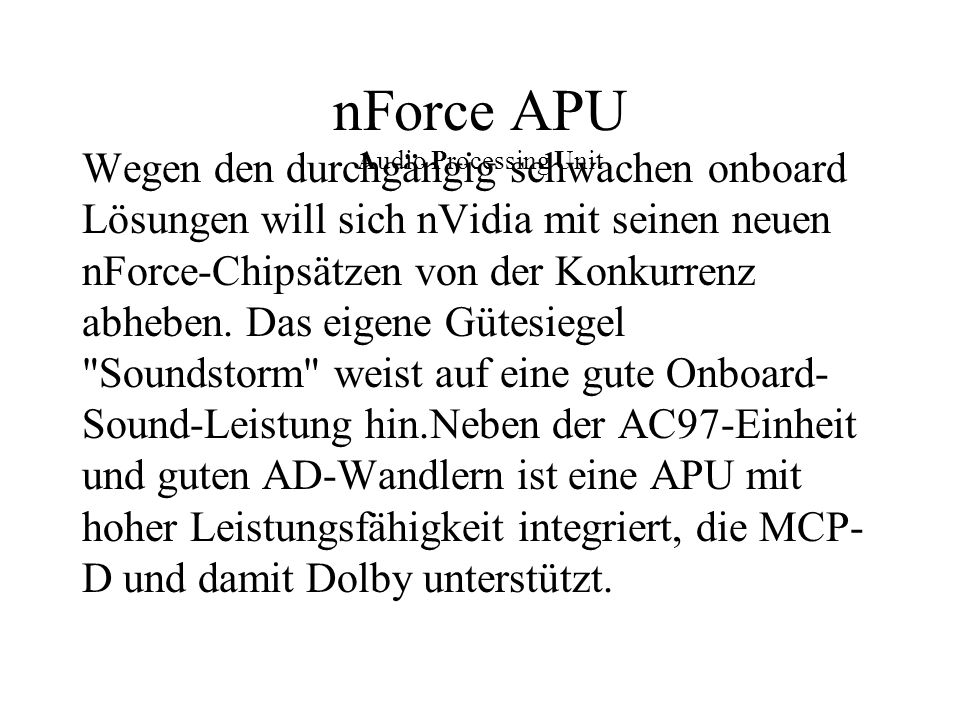 nForce APU Audio Processing Unit