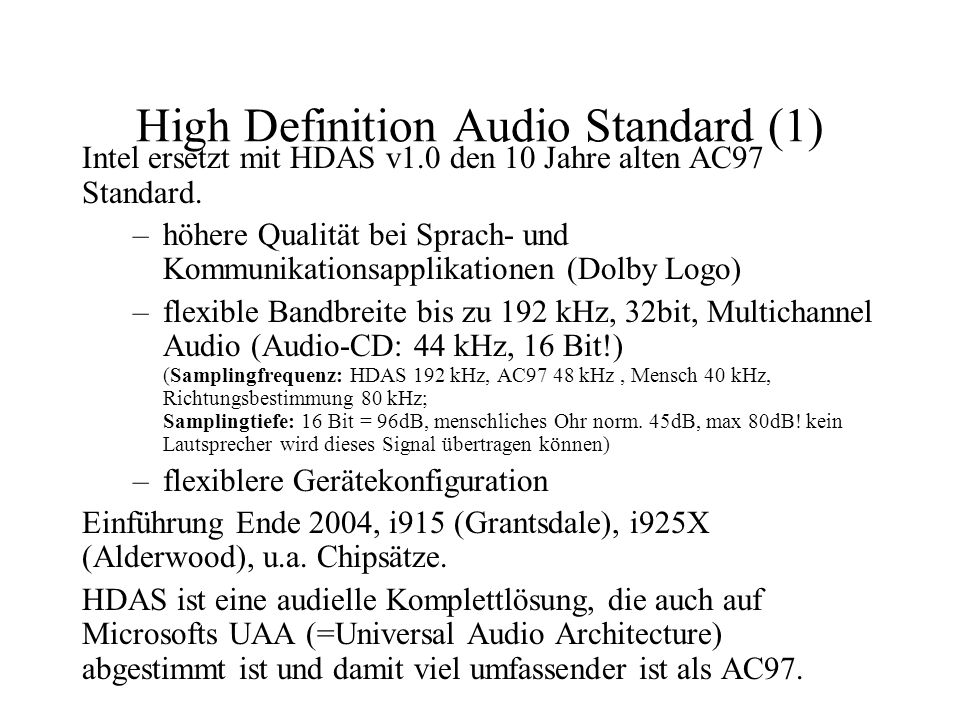 High Definition Audio Standard (1)