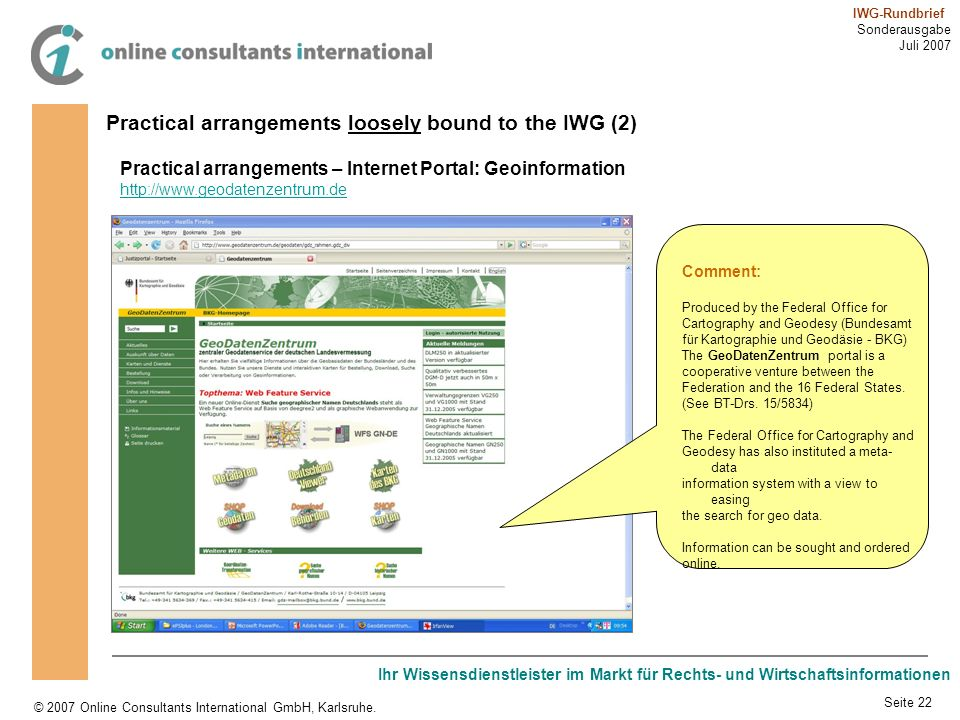 Practical arrangements loosely bound to the IWG (2)