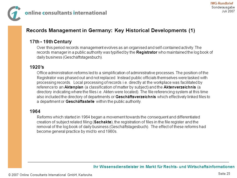 Records Management in Germany: Key Historical Developments (1)