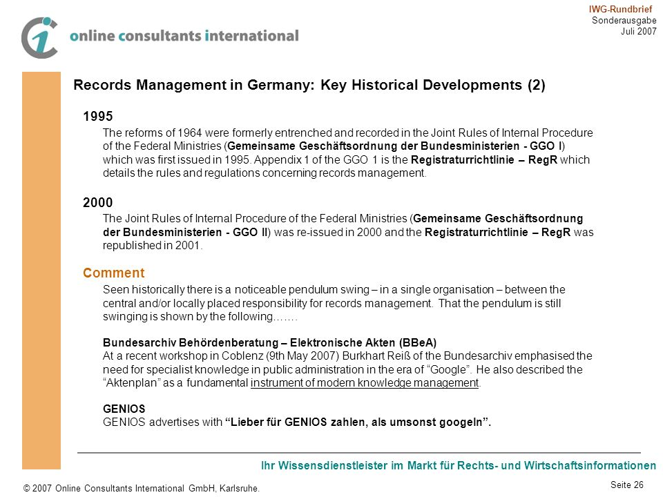 Records Management in Germany: Key Historical Developments (2)
