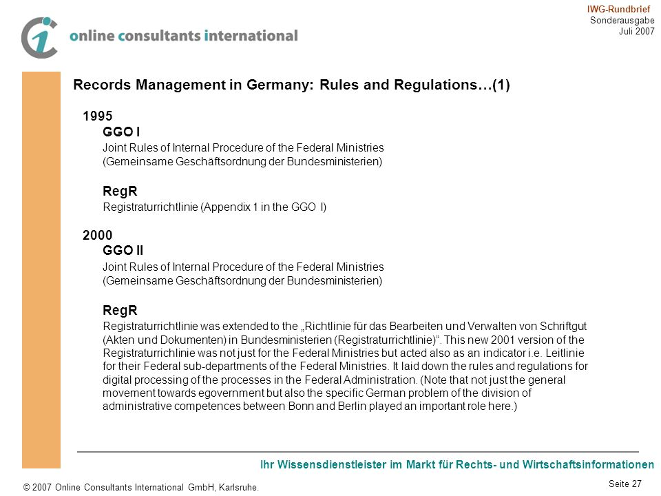 Records Management in Germany: Rules and Regulations…(1)