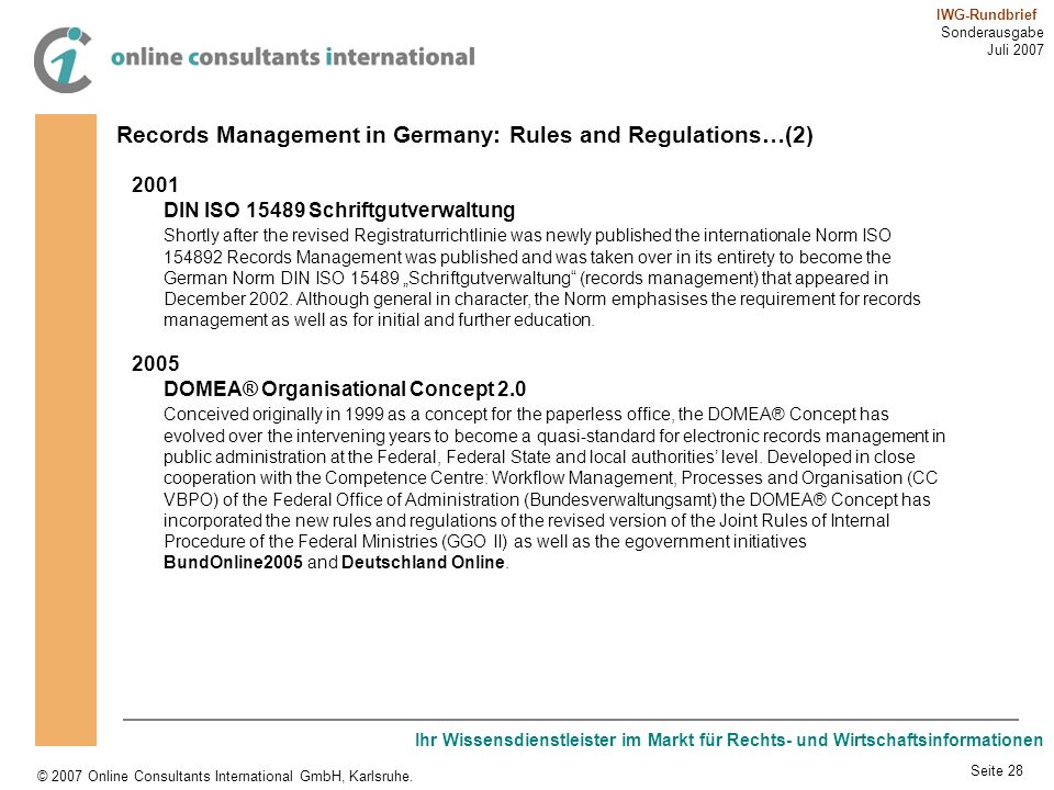 Records Management in Germany: Rules and Regulations…(2)