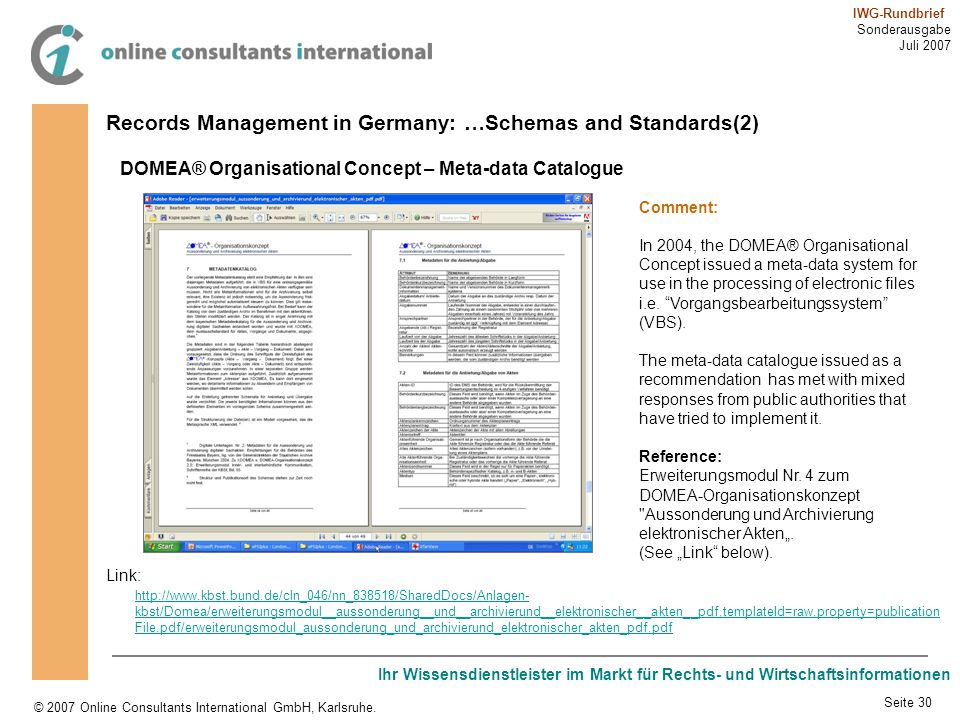 Records Management in Germany: …Schemas and Standards(2)