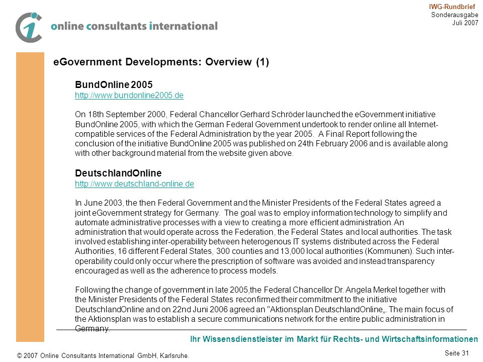 eGovernment Developments: Overview (1)