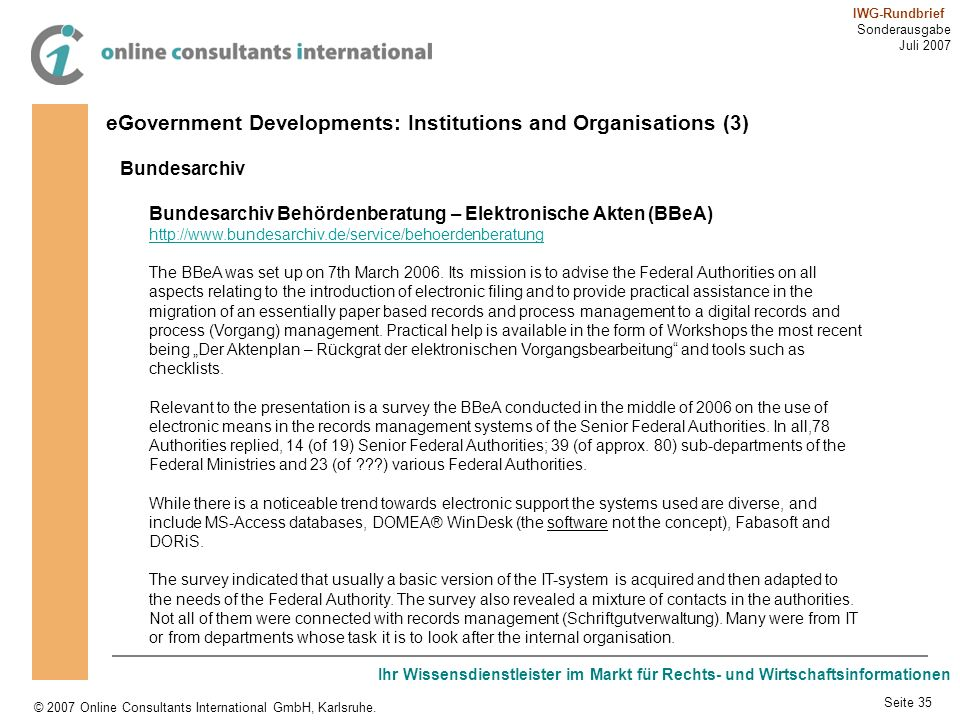 eGovernment Developments: Institutions and Organisations (3)