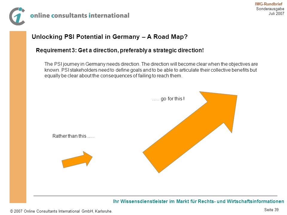 Unlocking PSI Potential in Germany – A Road Map