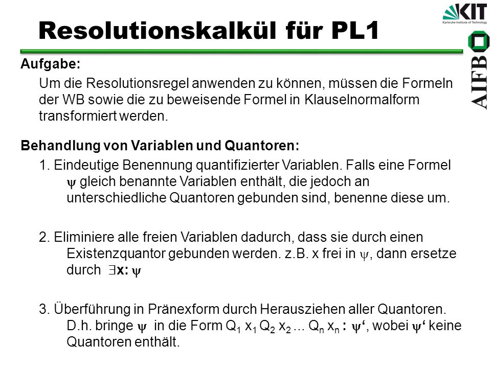 Resolutionskalkül für PL1