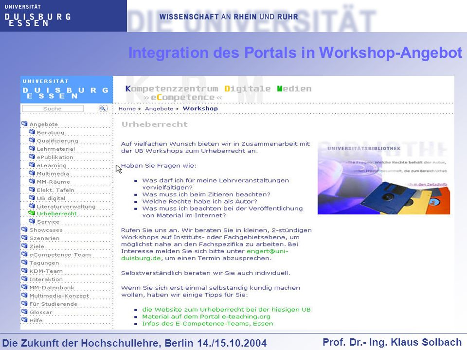 Integration des Portals in Workshop-Angebot