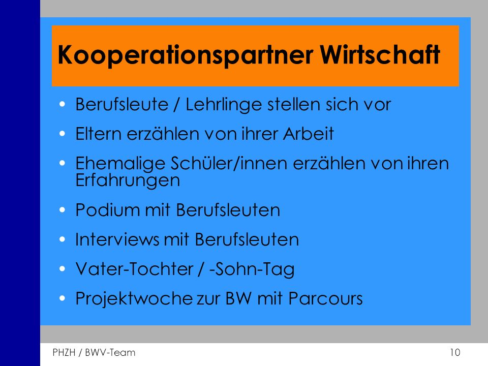 Kooperationspartner Wirtschaft
