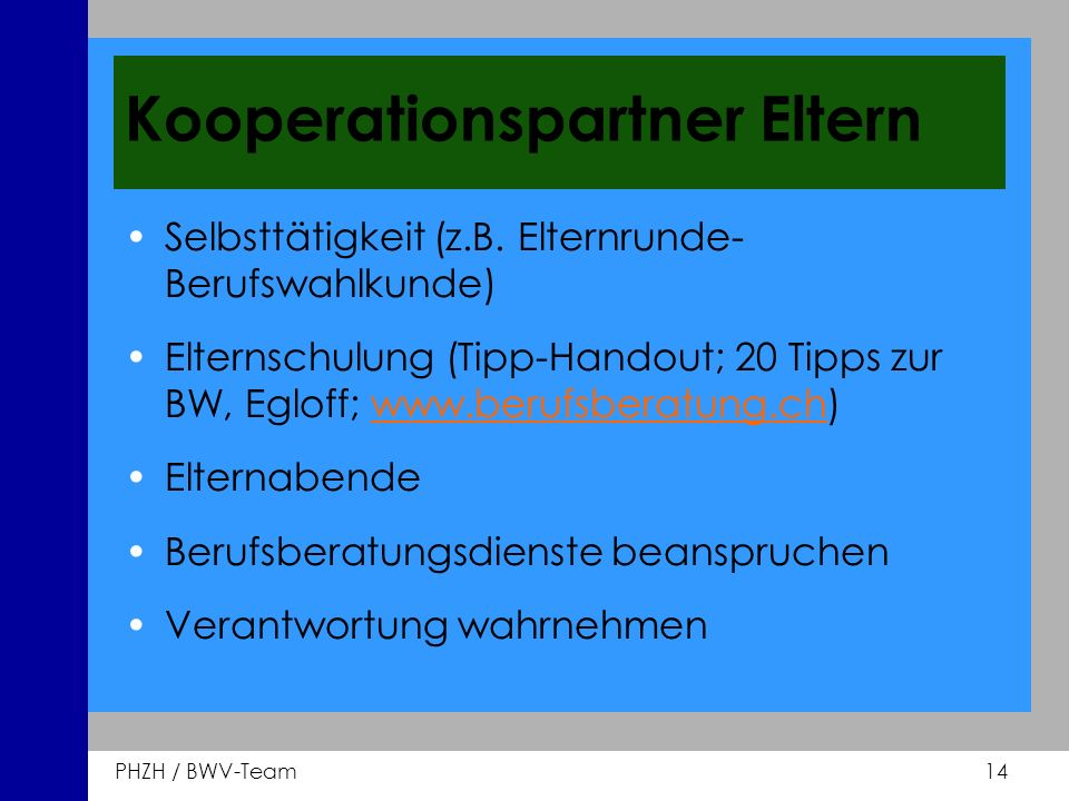 Kooperationspartner Eltern
