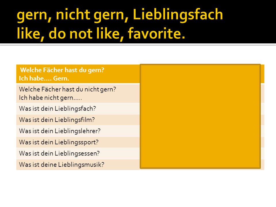 gern, nicht gern, Lieblingsfach like, do not like, favorite.