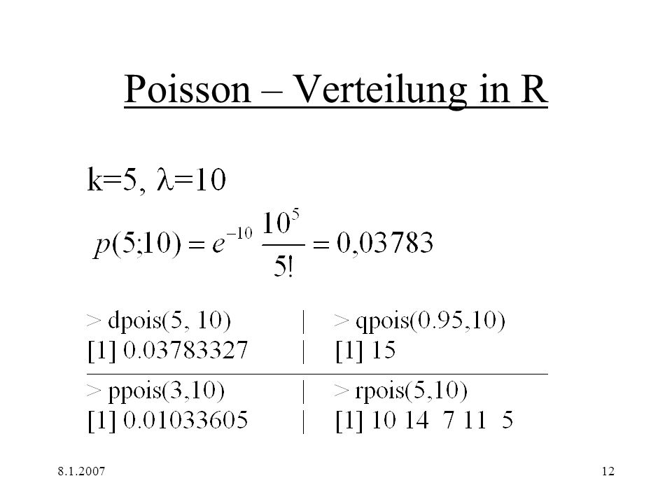 Poisson – Verteilung in R