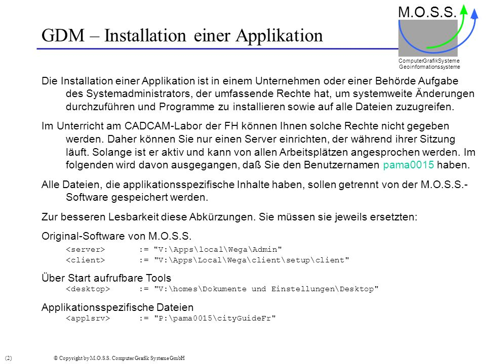 GDM – Installation einer Applikation