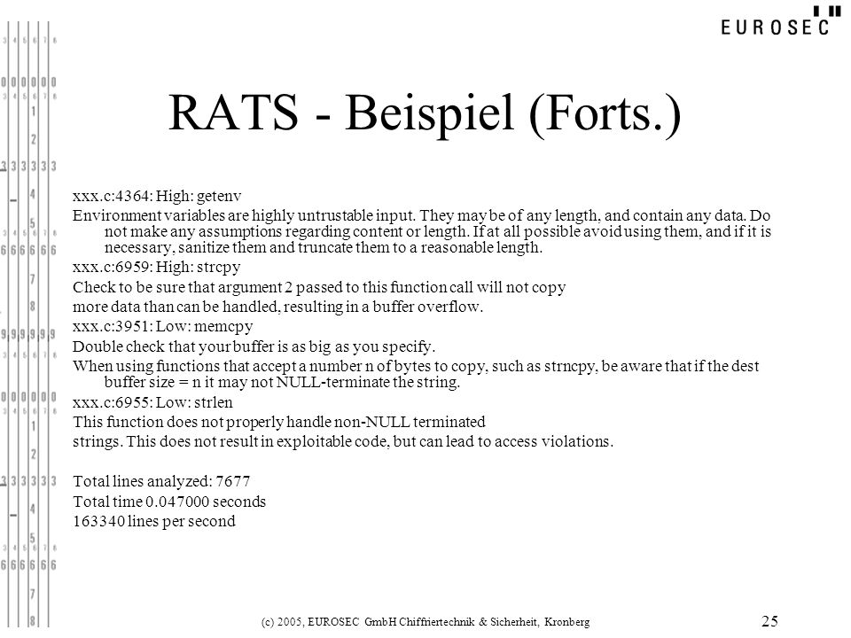 RATS - Beispiel (Forts.)