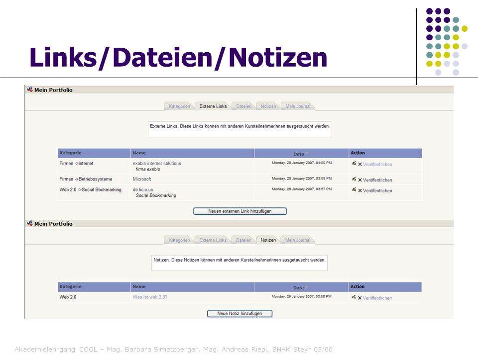 Links/Dateien/Notizen