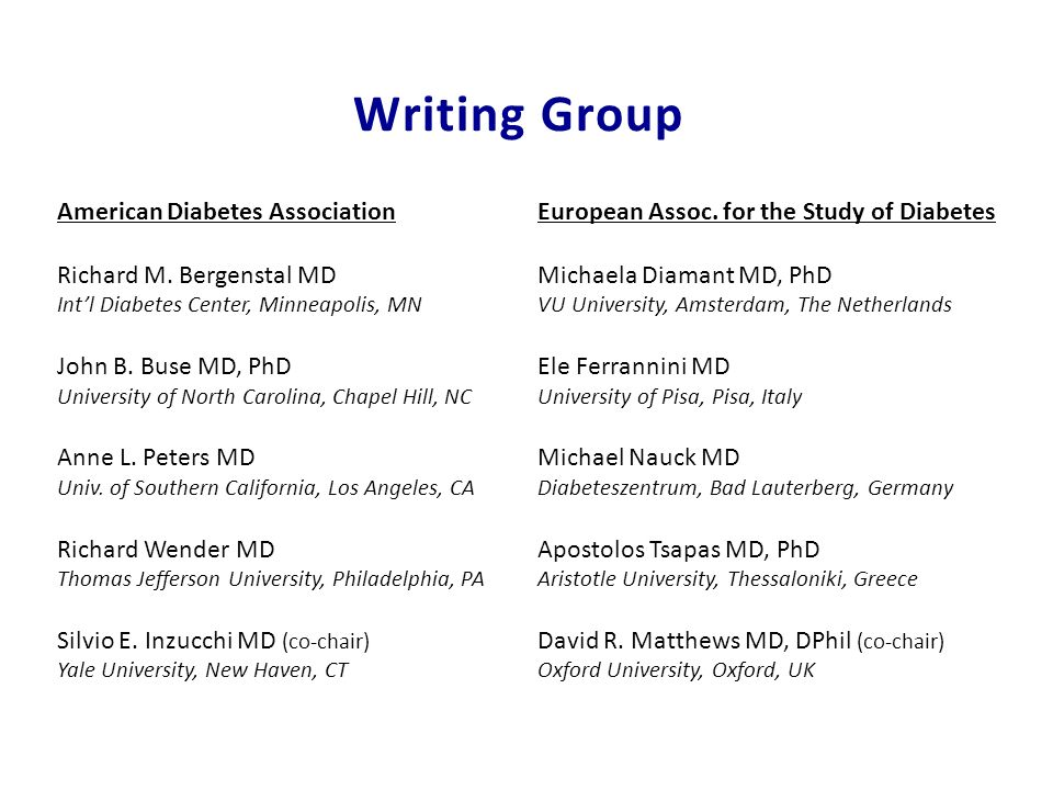 Writing Group American Diabetes Association Richard M. Bergenstal MD