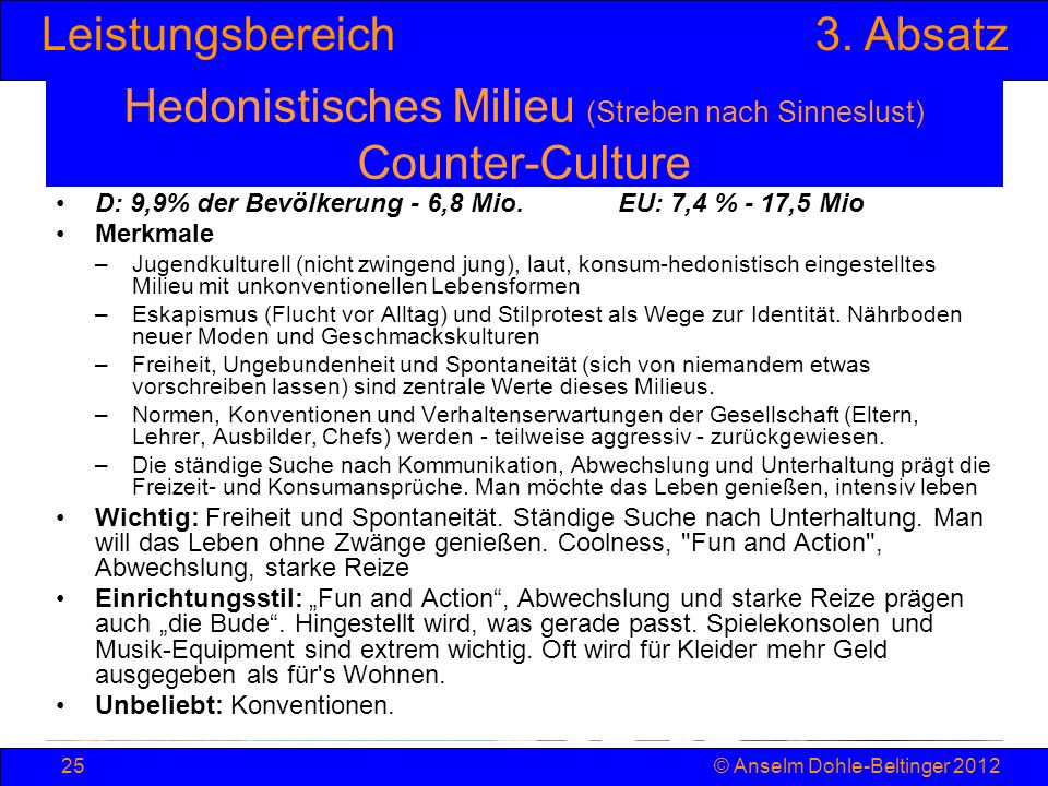 Hedonistisches Milieu (Streben nach Sinneslust) Counter-Culture