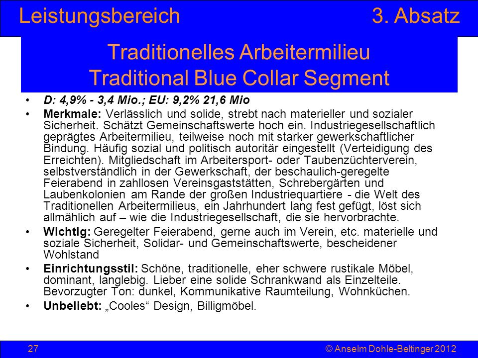 Traditionelles Arbeitermilieu Traditional Blue Collar Segment