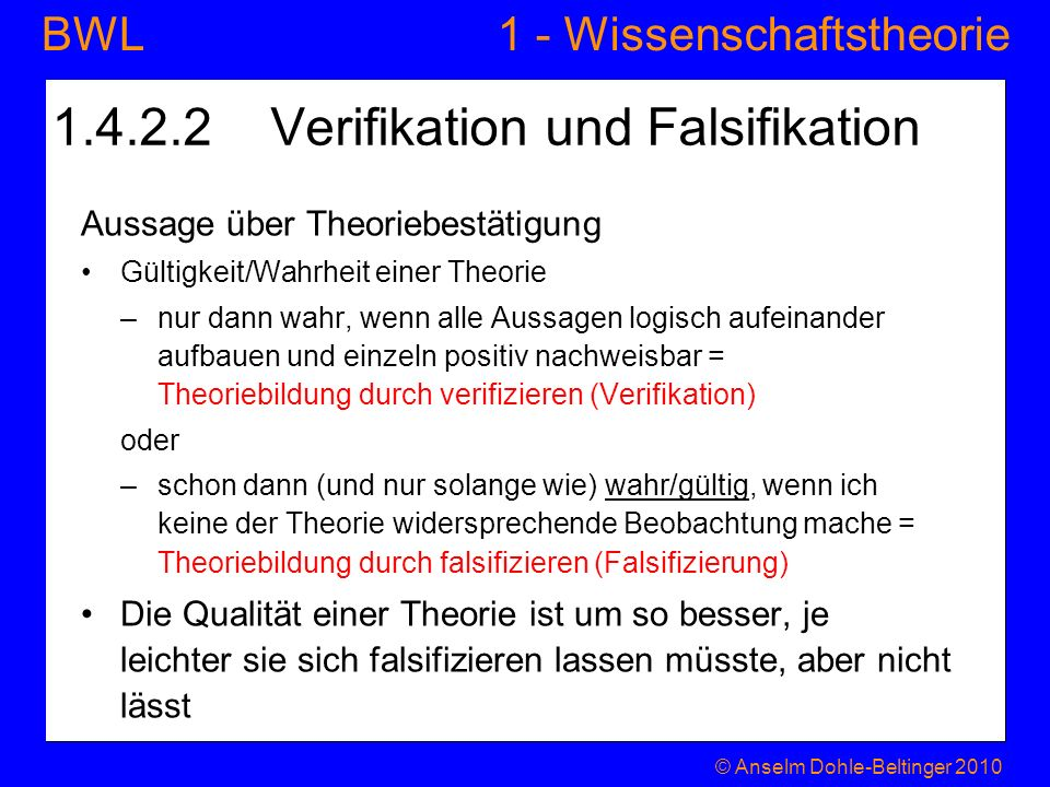 1.4.2.2 Verifikation und Falsifikation