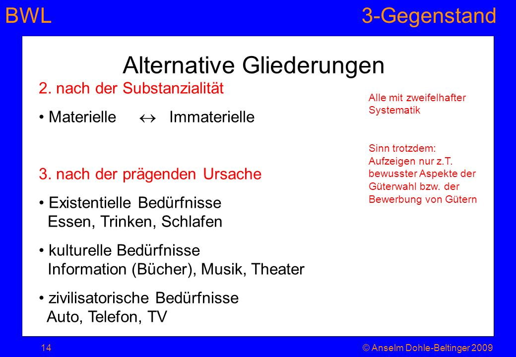 Alternative Gliederungen