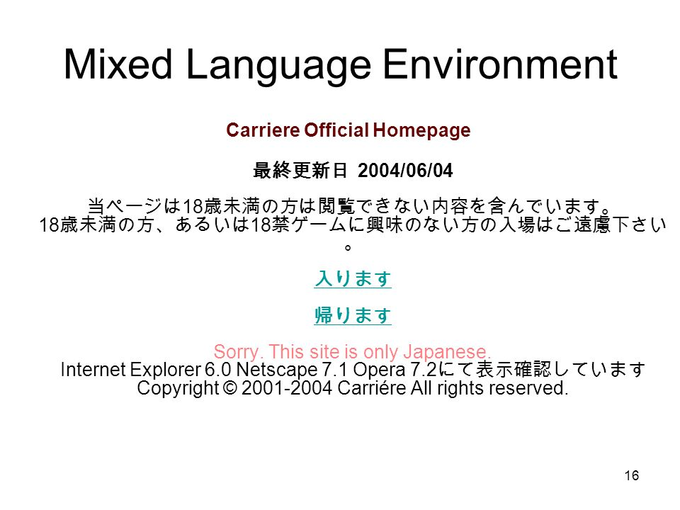 Mixed Language Environment