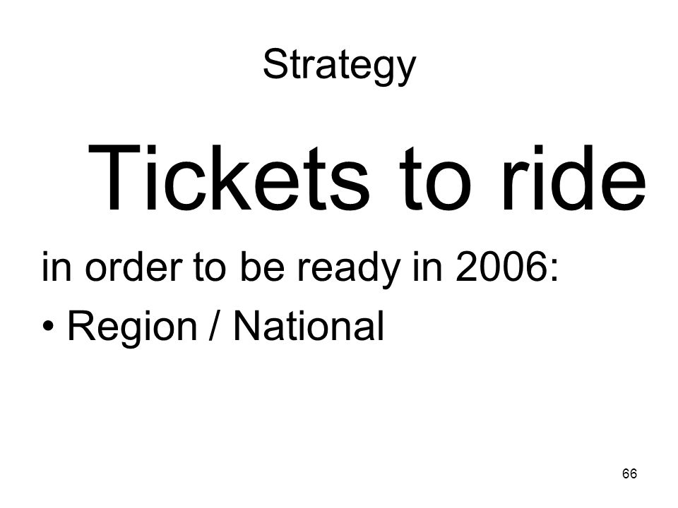 Tickets to ride Strategy in order to be ready in 2006: