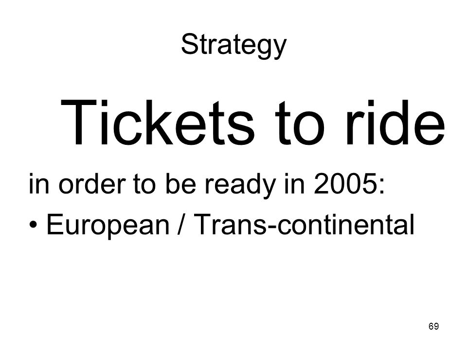 Tickets to ride Strategy in order to be ready in 2005:
