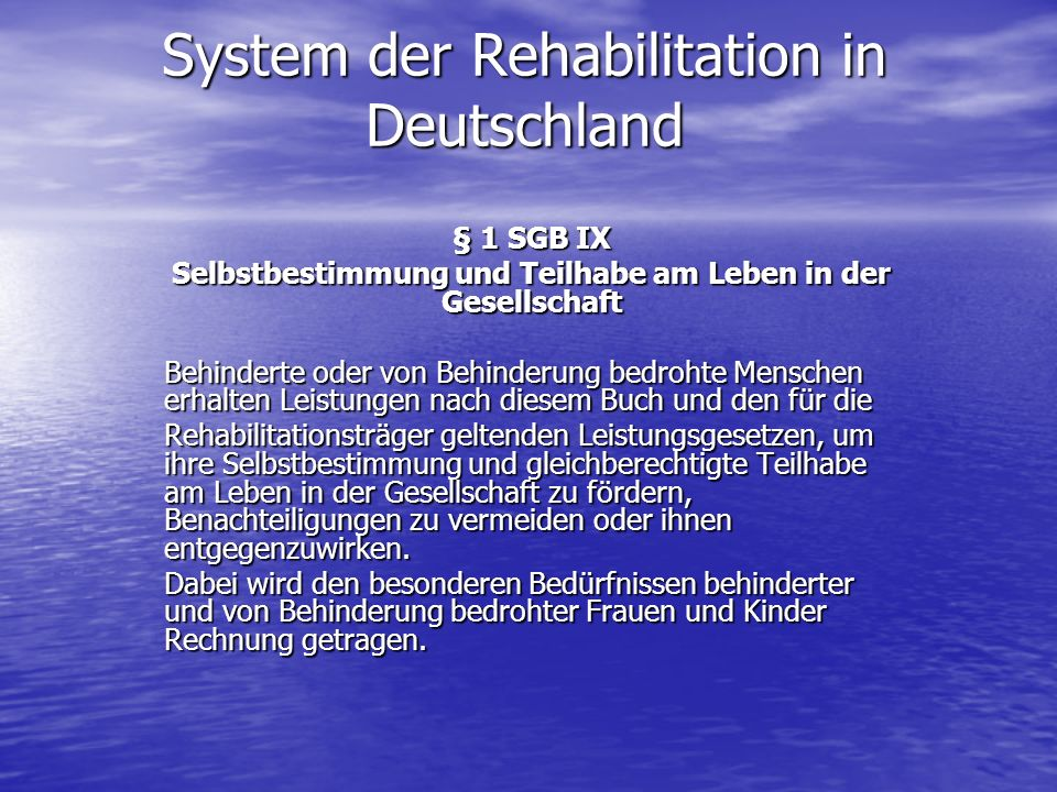 System der Rehabilitation in Deutschland