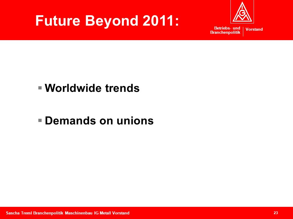 Future Beyond 2011: Worldwide trends Demands on unions